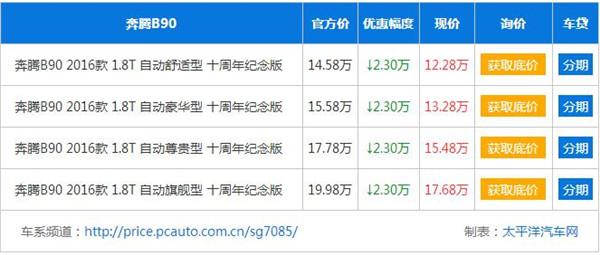 高性能的自主品牌 奔腾B90优惠高达2.3万